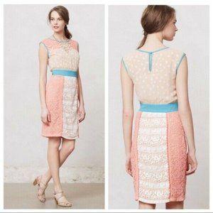 Anthropologie Champagne & Strawberry Dress Size 6